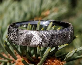 Gibeon Meteorite Wedding Band with Cobalt Chrome Sleeve - 6mm Authentic Genuine Gibeon Meteorite Rings