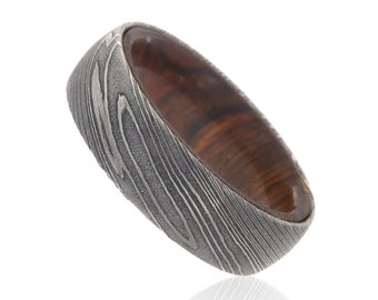 New 7mm Wide Damascus Steel Ring with a Tamboti Wood Sleeve - DS-7HR-TambotiSleeve