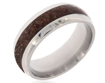 New Dinosaur Bone & Titanium Ring Handcrafted With Dinosaur Bone Fossil - Comfort Fit Wedding Bands - 8HR14G-DinosaurBone