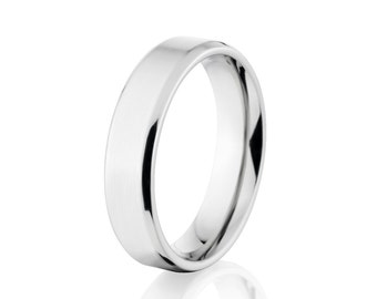 His /& Hers High Polished Shiny Cobalt with Beveled Edge Comfort Fit Wedding Bands 2P8CT255 Cobalt Ring