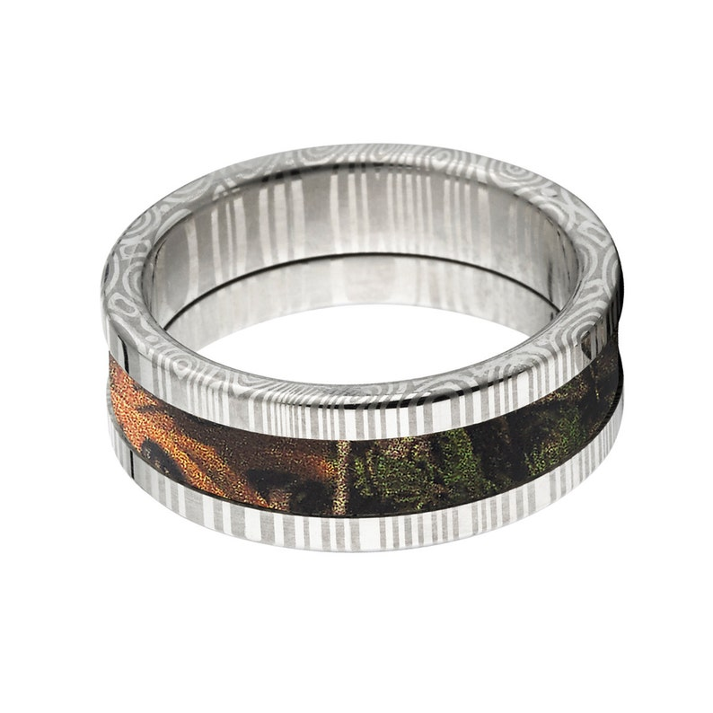 Damascus Steel Custom Made 8mm Real Tree XTRA Camo Ring DS/_8F/_XTRA