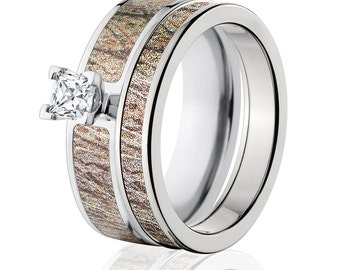 Mossy Oak Camo Bridal Sets, Cobalt Camo Bridal Set with Mossy Oak Brush Wedding Ring Set : COB-6F14G5PCTW and 4HR_Brush