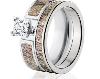 Cobalt Camo Bridal Set with Mossy Oak Brush Camouflage Camo Wedding Rings Custom Made To Order : COB-6F14G1PCTW and 4HR_Brush