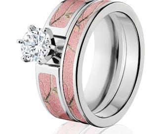Cobalt Camo Bridal Set with 1ct Round CZ RealTree AP Pink Camo Ring Set : COB-6F14G1RCTW and 4HR_Pink