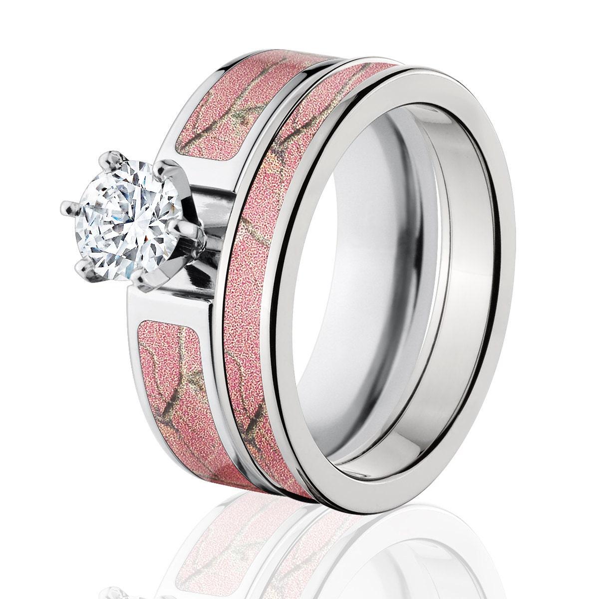 2b87f6b29 Cobalt Camo Bridal Set with 1ct Round CZ RealTree AP Pink Camo | Etsy