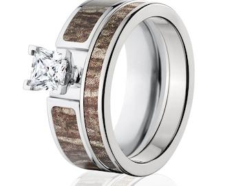 Cobalt Camo Bridal Set with Mossy Oak Bottomland, Camo Ring Sets : COB-6F14G1PCTW and 4HR_Bottomland