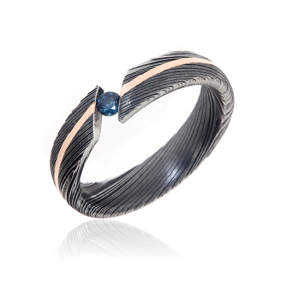 Damascus Steel Wedding Ring Blue Sapphire Bypass Bands 14k Etsy