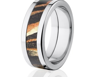 NEW 8MM Flat Branded Mossy Oak Titanium Ring, Shadow Grass Pattern: 8P-Shadow