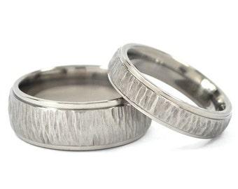 New Tree-Bark His and Hers Set Titanium Wedding Rings, Promise Rings: 8HRRC-TBP.5HRRC-TBP