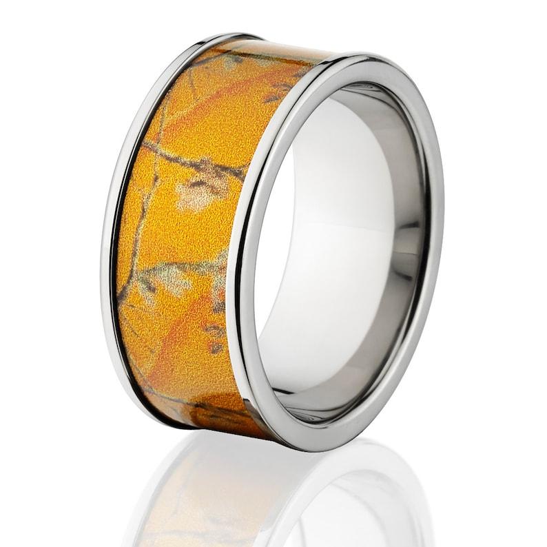 New 10mm Titanium Licensed RealTree Orange Camo Ring Camo Wedding Bands Orange RealTree Titanium Wedding Rings 10F-AP-ORANGE