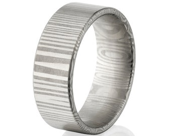 New 8mm Wide Damascus Steel Ring USA Made Damascus Bands - DS-8F