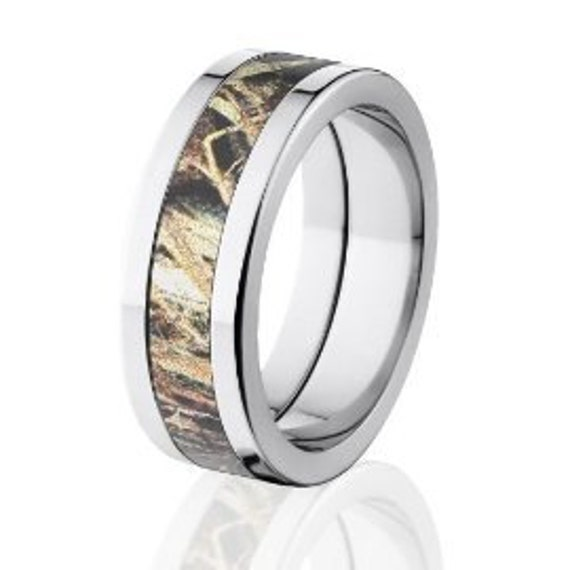 Duck Blind Camo Wedding Rings, Mossy Oak Camouflage Bands, USA Made: 8P-Duck