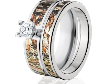 Cobalt Camo Bridal Set with Mossy Oak DuckBlind, Camo Bridal Sets, Camo Rings & Camo Wedding Ring : COB-6F14G5PCTW and 4HR_DuckBlind
