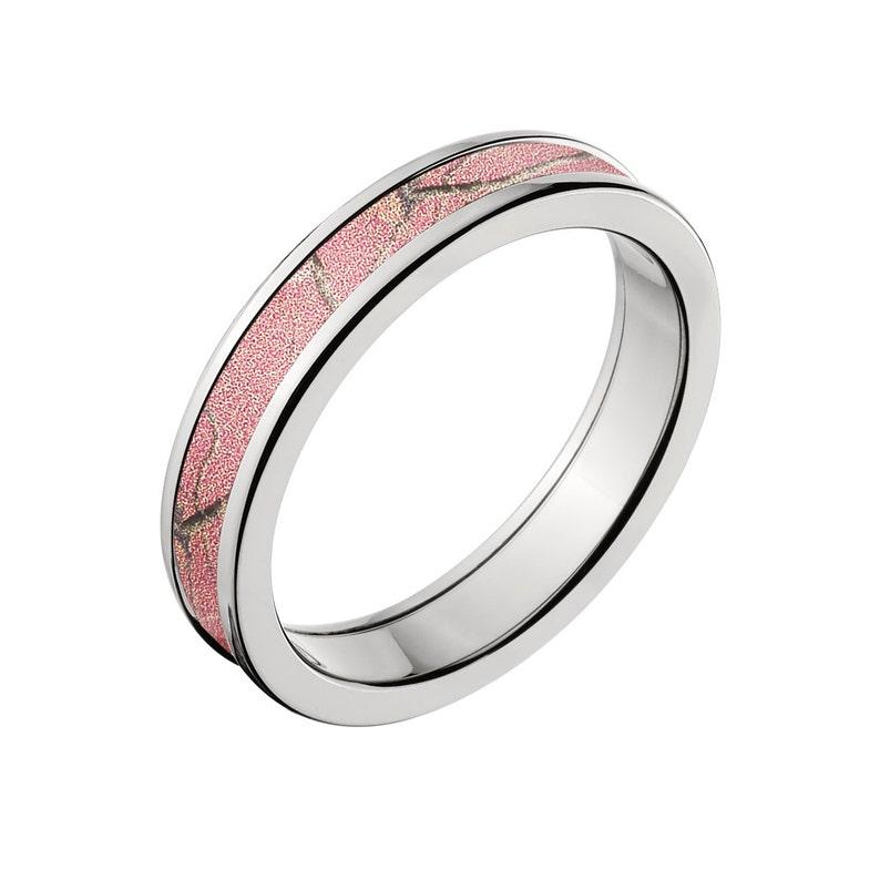 Camouflage Wedding Band Custom Camo Wedding Ring Realtree Pink Camo Pattern Camo Jewelry RealTree Pink Camo Ring 4HR/_RTPINK