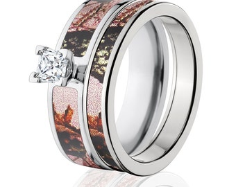 Cobalt Camo Bridal Set with Mossy Oak Pink Breakup, Offical Camo Outdoor Rings : COB-6F14G5PCTW and 4HR_PinkBU
