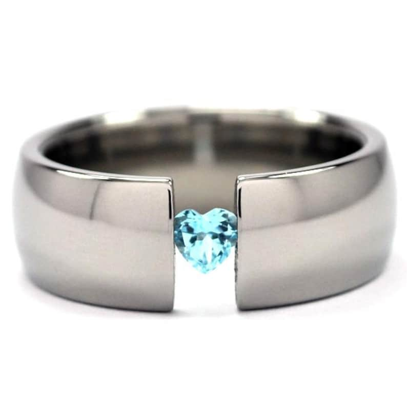 New 8mm Wide Titanium Tension Set Ring with a 4mm Heart Gemstone 8HR-P-HRTTens