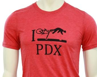 I Bike PDX | Soft Lightweight T shirt | Crew & V-neck | Crash PDX | Bicycle