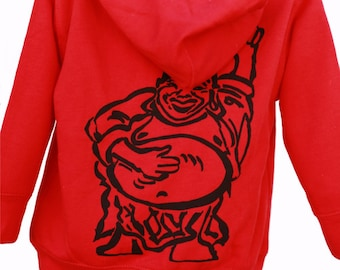 Happy Lucky Buddha | Full zip fleece hoodie | Toddler sizes | Soft zip up hoodie | Hotei | Ready to ship