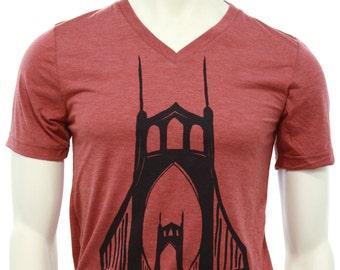 St. Johns Bridge Portland - Soft Lightweight T Shirt - Crew and V-neck