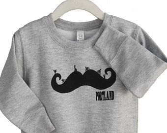 Mustache | Children crew neck sweatshirt | Baby, toddler and youth sizes sweatshirt | Funny | Bike ride | Children jumper