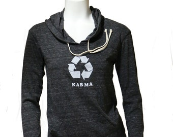 Karma | Lightweight soft pullover hoodie | organic cotton blend | recycle symbol | spring and autumn jumper | Yoga apparel.