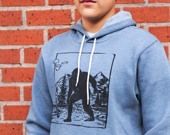 Bigfoot X-ing | Soft classic pullover hoodie | Unisex | Sasquatch crossing