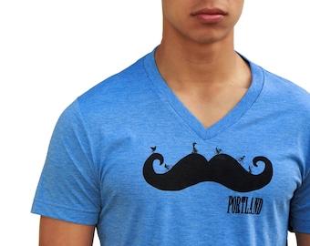 Mustache - Soft Lightweight T Shirt - Unisex crew and Vneck - Portland Mustache ride