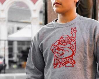 Hotei Buddha | crew neck sweatshirt | peace sign | Happy Buddha | classic jumper | sizes XS - 3XL