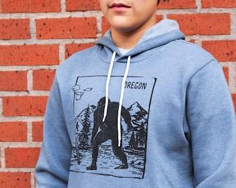Oregon Bigfoot Xing   Soft classic pullover hoodie   Unisex   Oregon Sasquatch crossing