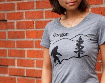 Oregon Bigfoot | Soft lightweight T Shirt | Sasquatch | Slim fit scoop and V neck | Hometown tees.