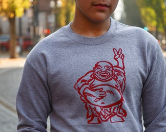 Hotei Buddha | crew neck sweatshirt | peace sign | Happy Buddha | classic jumper | sizes up to 3 XL