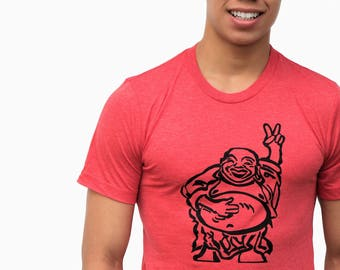 Hotei - Happy Lucky Buddha - Soft Lightweight T shirt - Unisex crew and Vneck.