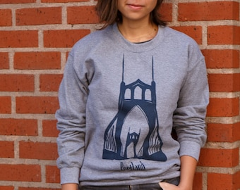 St. Johns bridge Portland | Crew neck Sweatshirt | Unisex Jumper