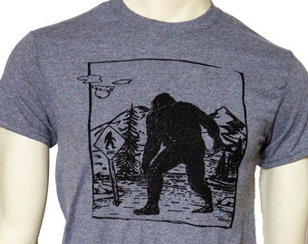 Bigfoot Xing | Men's classic T Shirt | Sasquatch crossing | up to sizes 5XL | Yetti