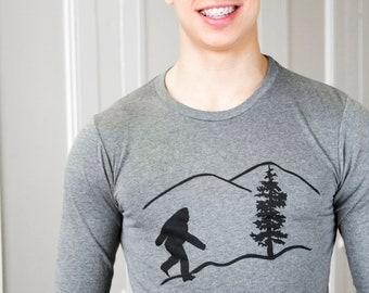 Bigfoot | Men's long sleeve T shirt | Sasquatch | soft lightweight.