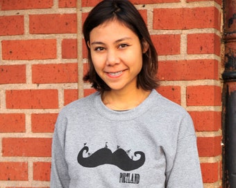 Mustache | Portland bike | Crew neck sweatshirt | Unisex | Classic jumper
