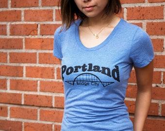 Bridge City   Portland   Soft Lightweight T Shirt   Slim fit   scoop & V-Neck   Fremont bridge