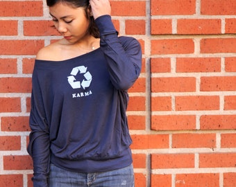 Karma | Long-Sleeve Off Shoulder | What goes around, comes around | Flowy | Yoga