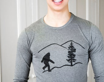 Bigfoot | Men's long sleeve T shirt | Sasquatch | soft lightweight.