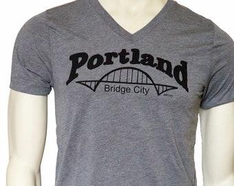 Bridge City | Portland | Soft Lightweight T Shirt | Fitted | Crew & V-Neck | Fremont bridge