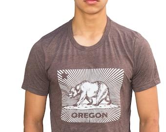 California Bear flag Oregon - Soft Lightweight T Shirt - Crew & V-neck