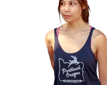 Portland Oregon wild and free | Relax Fit soft and lightweight | Hometown pride | ladies oversized tank