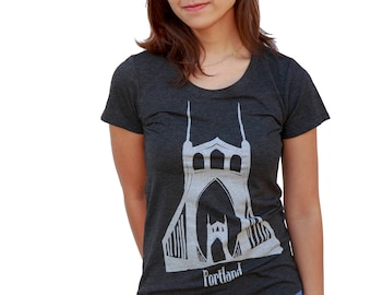 St. Johns Bridge Portland | Soft Lightweight T Shirt | Slim fit | scoop & V-Neck