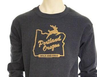 Portland Oregon Wild and Free | crew neck sweatshirt | hometown sweatshirt | classic jumper