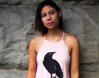Crow bird | Ladies flowy high neck tank top | Raven bird|