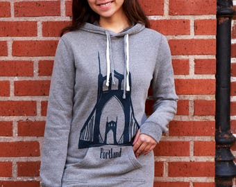 St. Johns bridge Portland Oregon | Hooded Sweater dress