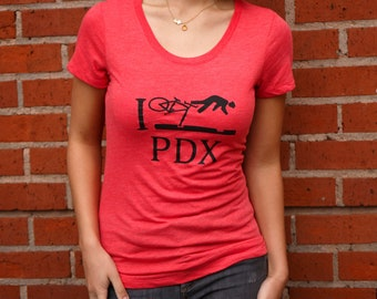I Bike PDX T Shirt | Soft Lightweight | Crash PDX | Slim fit T shirt | Hometown t shirt | Sizes S - XXL