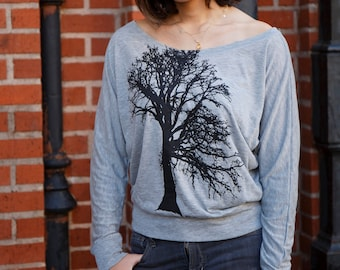 Oak tree | Long-Sleeve Off the Shoulder | Ready to ship | Soft | Flowy shirt | Yoga | Zen