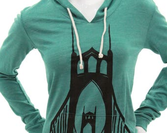 St. Johns Bridge - Portland Or | Lightweight pullover hoodie | Soft organic cotton blend