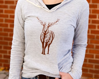Elk in the trees | Lightweight soft pullover hoodie | spring and autumn jumper | Soft hoodie long sleeves
